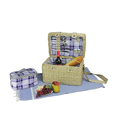 Northlight 2-Person Hand Woven Natural Seagrass Picnic Basket Set with Accessories (32229648)