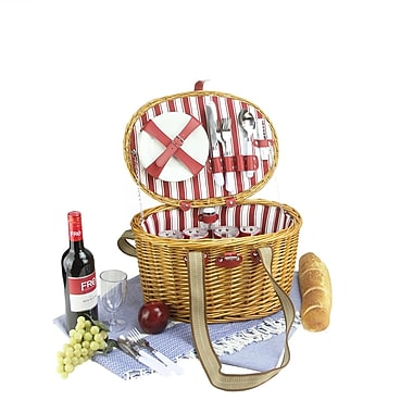 Northlight 4-Person Hand Woven Honey Willow Striped Picnic Basket Set with Accessories (32231697)