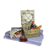 Northlight 4-Person Hand Woven Warm Gray and Natural I love Paris Willow Picnic Basket Set with Accessories (32229653)