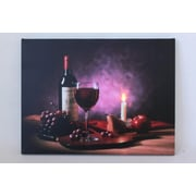 """Northlight LED Lighted Flickering Wine  Fruit and Candle Canvas Wall Art 11.75"""" x 15.75"""" (31533440)"""
