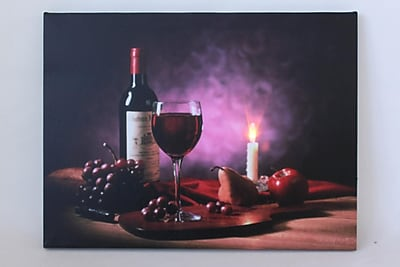 Northlight LED Lighted Flickering Wine Fruit and Candle Canvas Wall Art 11.75