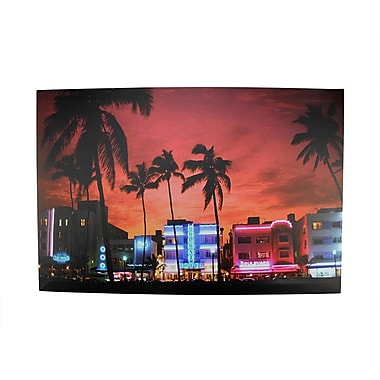 Northlight LED Lighted Famous South Beach Miami Florida Nightlife Scene Canvas Wall Art 15.75