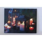 "Northlight LED Lighted Flickering Garden Lantern Candles Scene Canvas Wall Art 11.75"" x 15.75"" (31533496)"