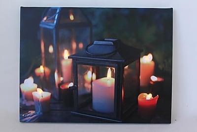Northlight LED Lighted Flickering Garden Lantern Candles Scene Canvas Wall Art 11.75