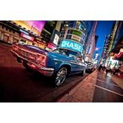 "Northlight LED Lighted NYC Times Square with Classic Chevrolet Car Canvas Wall Art 15.75"" x 23.5"" (31533276)"