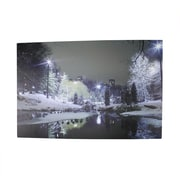 "Northlight LED Lighted Nighttime City Park Winter Scene Canvas Wall Art 15.75"" x 23.75"" (31533500)"