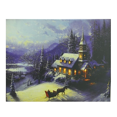 Northlight LED Lighted Church in Wintry Woods Canvas Wall Art 15.75