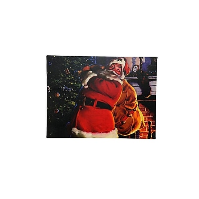 Northlight LED Lighted Jolly Santa Claus with Bag of Gifts Christmas Canvas Wall Art 11.75