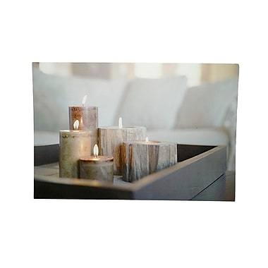 Northlight LED Lighted Rustic Driftwood Style Candles on Tray Canvas Wall Art 15.75