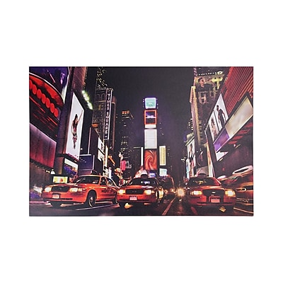 Northlight LED Lighted NYC Times Square Broadway Taxi Cabs Canvas Wall Art 15.75