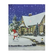 "Northlight LED Lighted Christmas Snowman with Decorated Home Canvas Wall Art 19.75"" x 23.5"" (32256575)"