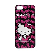 Hello Kitty Polycarbonate Wrap For Iphone 5 - Kitty Black Bacground With Pink Bows (Kt4489Pbw-Pd)