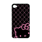 Hello Kitty Polycarbonate Wrap For Iphone 4/4S - Balck Case With Pink Kitty Faces (Kt4488Bk4-Pd)