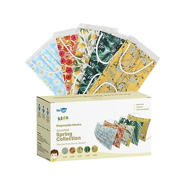 WeCare Disposable Face Masks, Kids, Assorted Spring Designs, 50/Box (WMN100083)