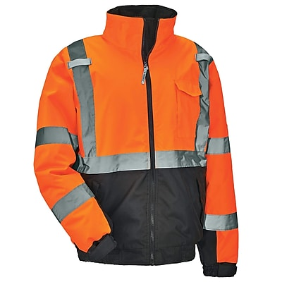 GloWear® 8377 Type R Class 3 Quilted Bomber Jacket, Orange, Small (25612)