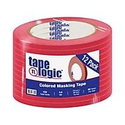 "Tape Logic™ 1/4"" x 60 Yards Masking Tape, Red, 12 Rolls (T93100312PKR)"