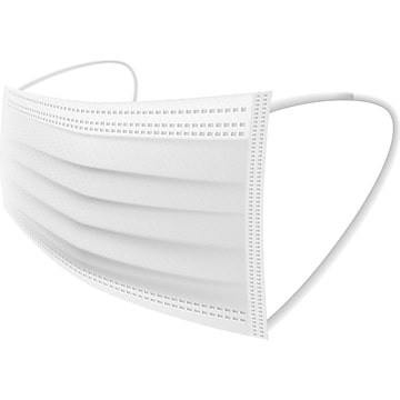 WeCare Individually Wrapped Disposable Face Mask, Adult, White, 50/Box (WMN100018)