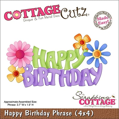 CottageCutz Die-Happy Birthday Phrase 3.7