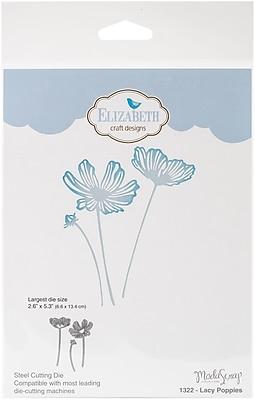 Elizabeth Craft Metal Die By Modascrap Designs-Lacy Poppies, Largest 2.6