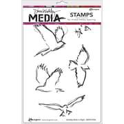 "Dina Wakley Media Cling Stamps 6""X9""-Scribbly Birds In Flight"
