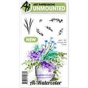 "Art Impressions Watercolor Cling Rubber Stamps 4""X7""-Foliage 2"