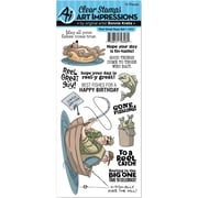 Art Impressions Work & Play Clear Stamp Set-Reel Great Guys