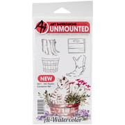 """Art Impressions Watercolor Cling Rubber Stamps 4""""X7""""-Rustic Container"""