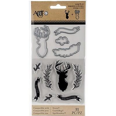 Art-C Stamp & Die Set-Deer/Twig/Banner