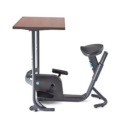 LifeSpan UNITY Cycling Desk Seat Adjustable Cherry Wood Grain Desktop