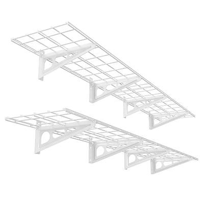 Fleximounts Wall Shelves Garage Storage Metal Shelf White 1'x6' (WR16)