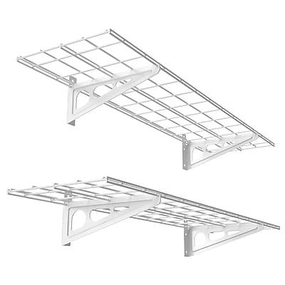 Fleximounts Wall Shelves Garage Storage Metal Shelf White 1'x4' (WR14)