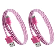 Purtech Apple MFI Certified Lightning Cable - 10 Feet, Pink & White (2XIP5-EX-BRDBKW)