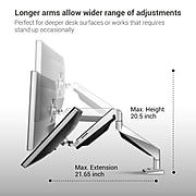 """Loctek Adjustable Monitor Mount, Up to 27"""", Gray/Silver (D7A)"""
