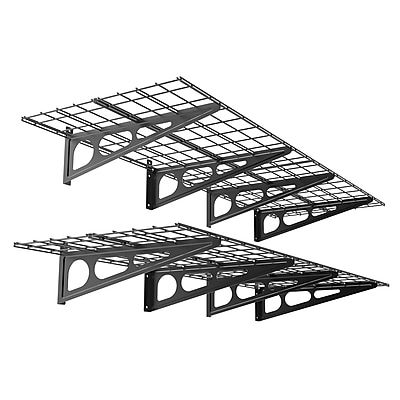 Fleximounts Wall Shelves Garage Storage Metal Shelf Black 2'x6' (WR26B)