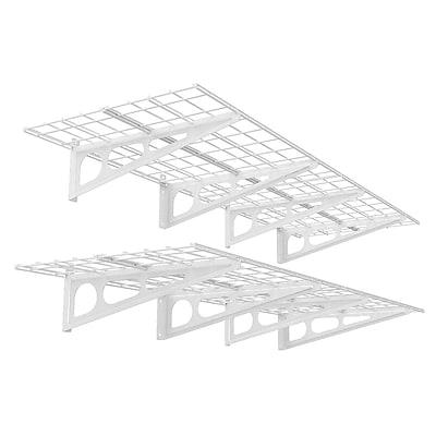 Fleximounts Wall Shelves Garage Storage Metal Shelf White 2'x6' (WR26)