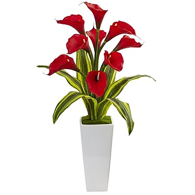 Nearly Natural Callas with Tropical Leaves in Glossy Planter (1462-RD)