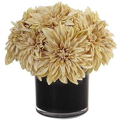 Nearly Natural Dahlia Mum in Black Glossy Cylinder (1471-CR)