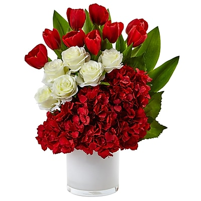 Nearly Natural Tulip Rose & Hydrangea Arrangement (1472-RW)