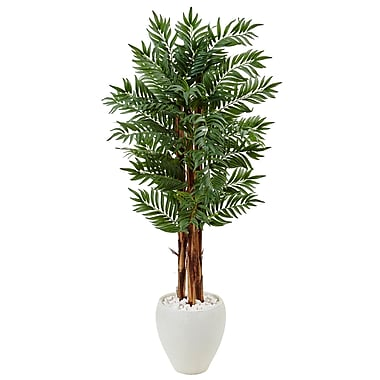 Nearly Natural 5' Parlor Palm Tree in White Oval Planter (5987)