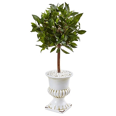 Nearly Natural 2.5' Sweet Bay Mini Topiary Tree in White Urn (5995)