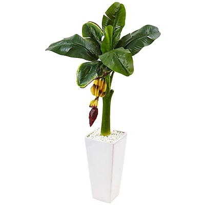 Nearly Natural 3.5' Banana Tree in White Tower Vase (5997)