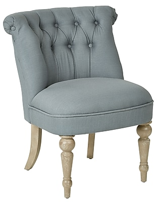 Ave Six Aubrey Tufted Accent Chair with Brushed Wood Finish & Klein Sea Fabric (AUBAS-K21)