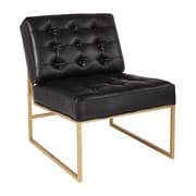 "Ave Six Anthony 26"" Wide Chair with Gold Finish Base and Black Faux Leather Fabric (ATH51CG-B18)"