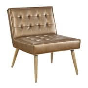 Ave Six Amity Tufted Accent Chair with Natural Wood Finish & Sizzle Copper Faux Leather Fabric (AMT51T-S53)