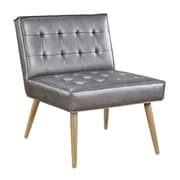 Ave Six Amity Tufted Accent Chair with Natural Wood Finish & Sizzle Pewter Faux Leather Fabric (AMT51T-S52)