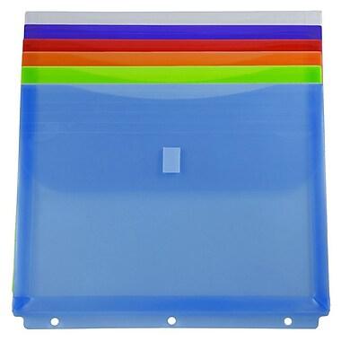 JAM Paper - Env. en plastique pour reliure avec crochet et boucle, 3 trous, 9,5 x 1,25 x 11,5 (po), bleu, 6/pqt (218VB1ASSTD)