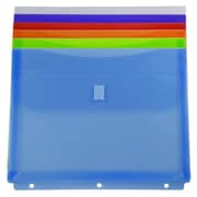 JAM Paper Plastic Binder Envelopes with Hook & Loop Closure, 3 Hole Punch, 9.5 x 1.25 x 11.5, Assort, 6/pack (218VB1asstd)