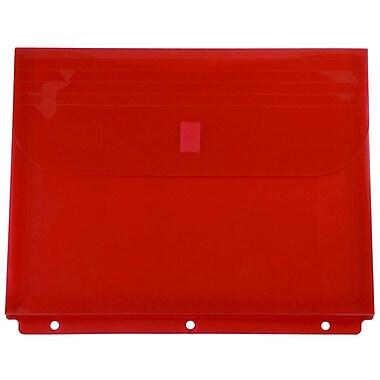 JAM Paper - Env. en plastique pour reliure avec crochet et boucle, 3 trous, 9,5 x 1,25 x 11,5 (po), rouge, 12/pqt (218VB1RE)