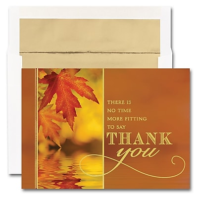 JAM Paper® Blank Thanksgiving Card Set, Autumn Thank You, 25/pack (526M0775WB)