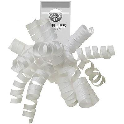 JAM Paper® Grosgrain Curly Gift Bows, 7.25 x 8.25, White, 120/carton (376333995)